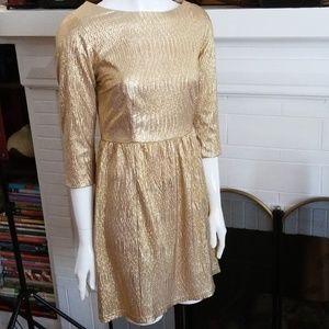 ANTHROPOLOGIE UNDER SKIES GOLD LAME DRESS